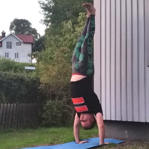 Handstand in August 24th 2017. I'm getting closer to my dream, a handstand without climbing up a wall or tree with my legs. I practiced kicking up to a wall from  Downward Facing Dog and somet