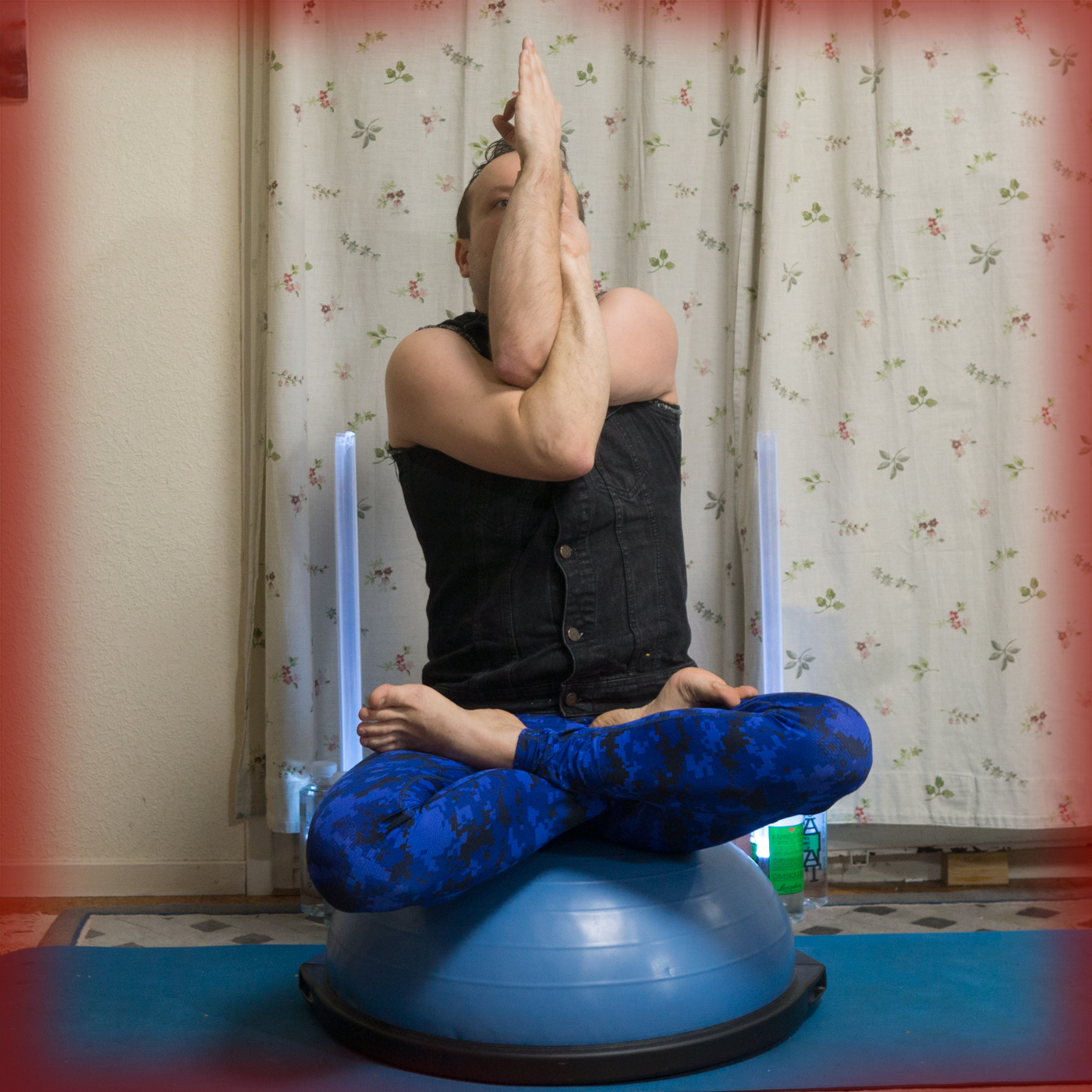 Eagle Pose in December 17th 2017. I bring a variation with eagle arms and  Lotus legs. I have recently came to love this hybrid, after I read about strongsitting, also known as powersitting, a