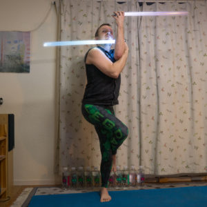 Eagle Pose in December 12th 2017. Training to fight multiple opponents with my lightsabers. The  Eagle Pose or  Garudasana allows me to strike in two directions at once, and thanks to conserva