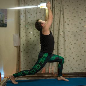 Warrior I Pose in December 1st 2017.  Jediintraining with  Virabhadrasana. May the Force be with you!