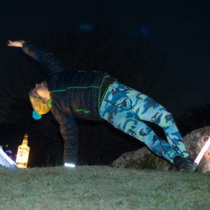 Wild Thing in December 2nd 2017. Got lit by supermoon,  Jim Beam, two lightsabers and a flash here. Enter Wild Thing or  Camatkarasana from downward dog -> three legged dog.