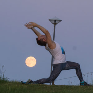 Anjaneyasana or Standing Crescent with the Full Moon