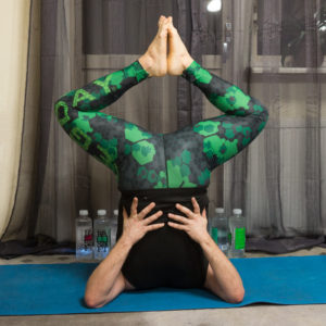 Shoulderstand in January 18th 2018. For todays symmetry, I bring two shoulderstands or  Salamba Sarvangasana. One vertical and one with legs in  Bound Angle Pose or  Baddha Konasana.
