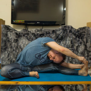 """Revolved Head to Knee Pose in February 3rd 2018. Got my hashtag right now, missed an """"s"""" on the end before :) For this, it works best when warming up and preparing with bound angle pose."""