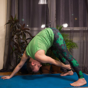 Downward Facing Dog in February 14th 2018. Happy  Valentine Day! The color of  Heart Chakra is green, so I dress in green today. I bring a downdog or  Adho Mukha Svanasana twist variation with