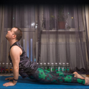 Upwardfacing dog in February 10th 2018.  Upwardfacingdog or  Urdhva Mukha Svanasana is a classic asana which is a part of both sun salutation flows. To get the most out of it, the entire legs