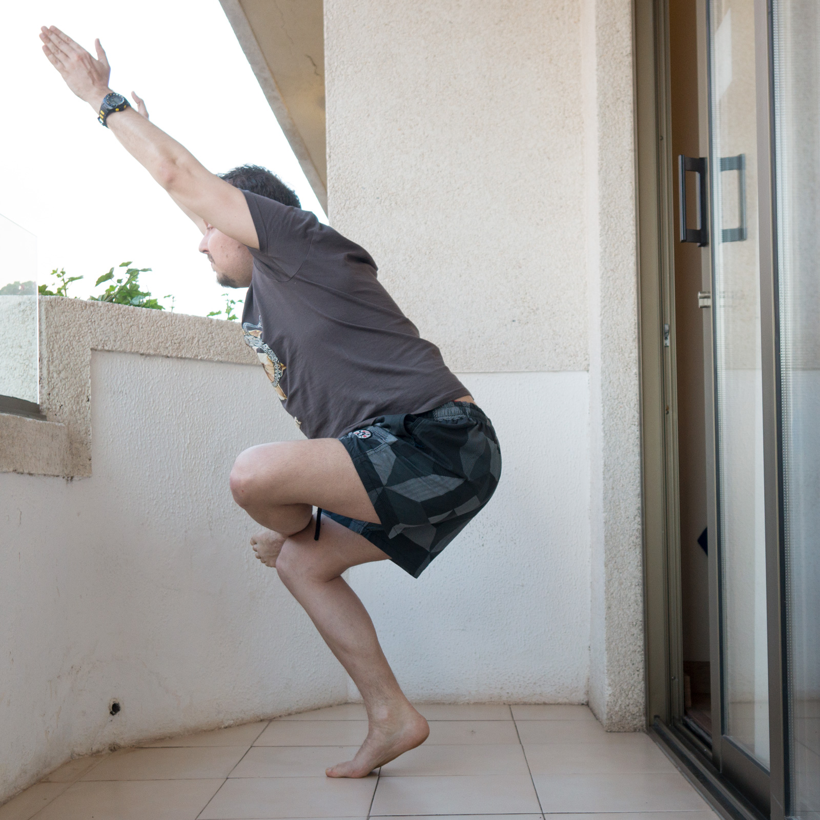 Chair Pose in February 26th 2018. There are many standingposes to chose among, so I bring two! First, a one-legged figure four  Chair Pose or  Utkatasana on tiptoe. This is a great strength bu