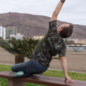 Fire log pose in February 22nd 2018. I join Team Yang today and bring a Fire Log Pose or Agnistambhasana at Bahia Playa Los Cristianos.