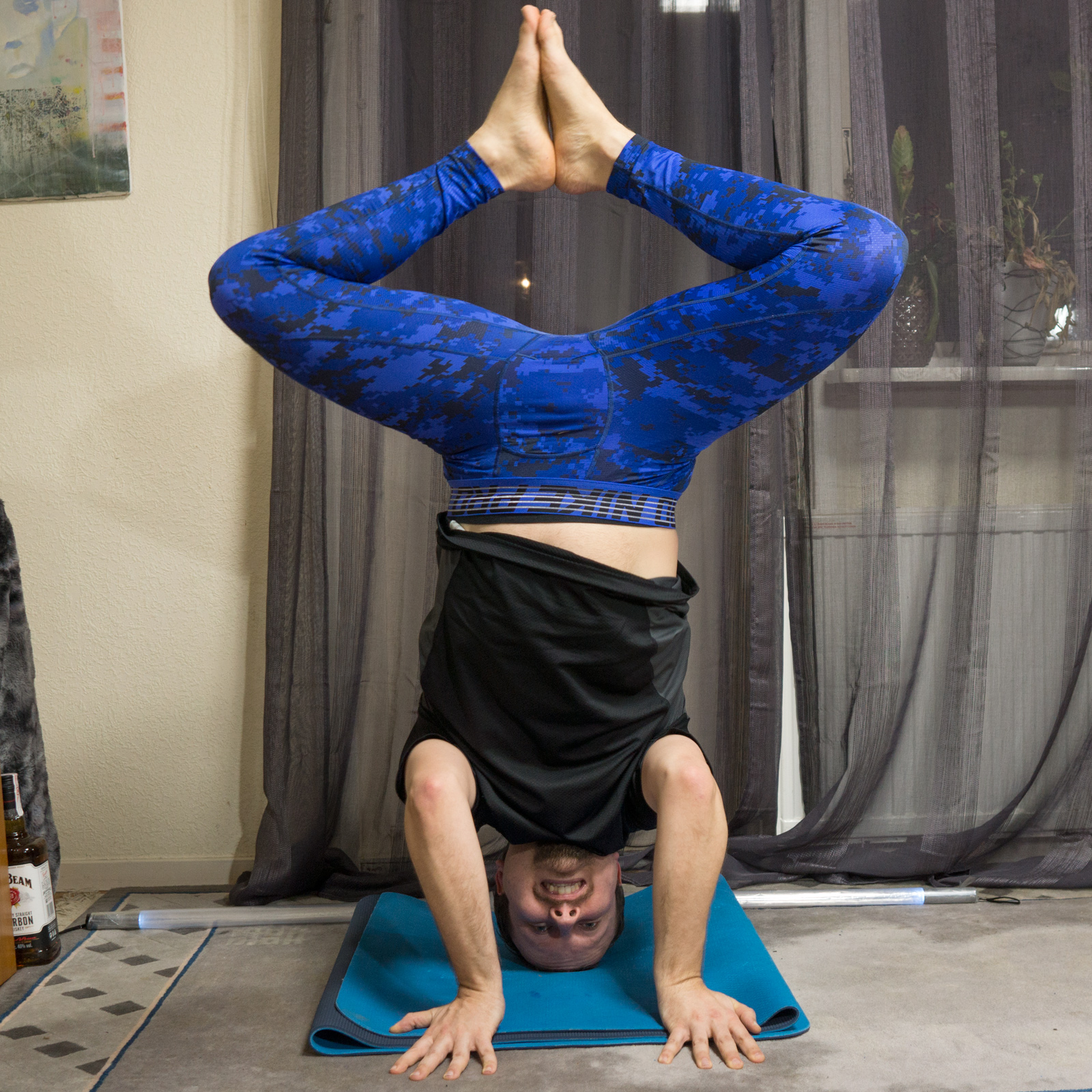 Bound Angle Pose in March 26th 2018. The week starts with a  Mancrushmonday, as the headstand variation with hands away from the face close together was really tough. I found that straddle pre