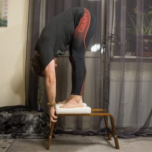 Standing forward fold in April 24th 2018. Jumping in here with a quite unorthodox use of my  Feet Up. I struggled with balance last time I did  Uttanasana or  Standingforwardfold on my  Feetup