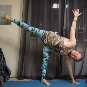 Half Moon Pose in May 4th 2018. Happy  Flexibility Friday! Haven't paid attention to drishti in  Ardha Chandrasana or  Half Moon Pose earlier, but I go for hastagre drishti or focus on hand. N