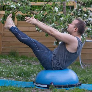 Boatpose in May 17th 2018. Yay, I finally cracked the secret of the Navasana on BOSU. Previously, I could hold it for a few seconds with decent angle of legs. The secret is to actually enter i
