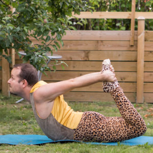Bow Pose in June 12th 2018. The third chakra is  Solarplexuschakra or  Manipura. Color is yellow and it is related to digestion and metabolism. Digestive health is closely related to mental health, and too much stress will cause problems ranging from mere