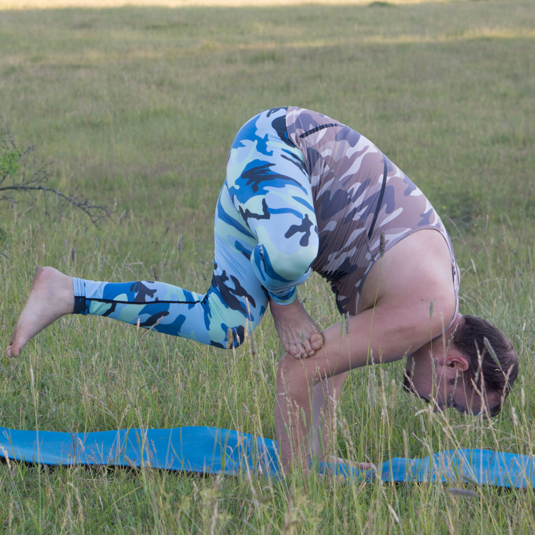 Grasshopper pose in June 25th 2018. I go for a tasty pose, Grasshopperpose or Parsva Bhuja Dandasana. Grasshoppers are tasty and rich in protein.