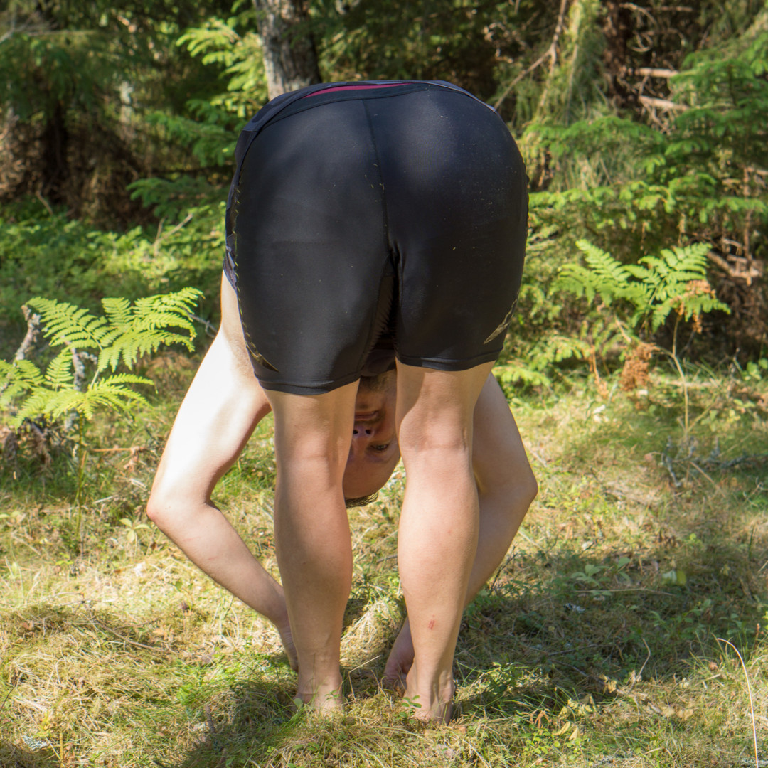 Standing forward fold in July 16th 2018. For forwardfolds like  Uttanasana, the best preparations are more forward folds. Standing, straddle and seated, and variations there of. Best drishti f