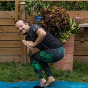 Revolved chair pose in August 14th 2018. I bring a  Twistedchairpose,  Revolvedchairpose or  Parivrtta Utkatasana in the light rain. Enough rain for a little chill during intensive flows, but