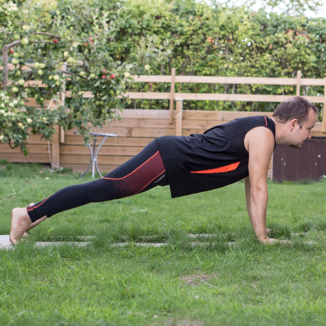 Plank pose in August 10th 2018.  Plankpose is known as  Adho Mukha Dandasana as well as  Kumbhakasana. It is one of a handful of asanas I've encountered before I started yoga.