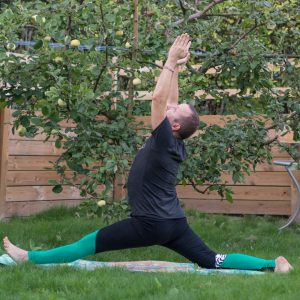 Split in September 4th 2018. I go for a  Hanumanasana or  Split with arms up and drishti on hands, similar to warrior 1 and extended mountain pose.