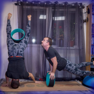 Tripod headstand in October 20th 2018. I join both teams again, and bring a funky  Tripodheadstand powered by a  Yoga Wheel for  Team Inversion and a  Cobrapose also powered by a yoga wheel an