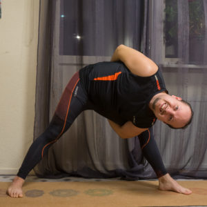 Bound triangle in November 12th 2018. It's my first  Boundtriangle or  Baddha Trikonasana.