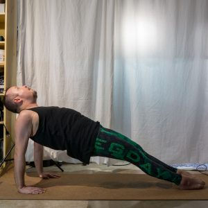 Upward plank in January 23rd 2019. I go for the  Purvottanasana or  Reverse Plank option. This is very different from regular plank, and it's pretty recently I learned to engage hamstrings in