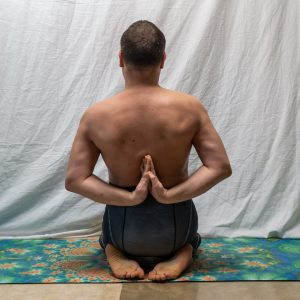 Reverse hands prayer in February 1st 2019.  Pashchima Namaskarasana or  Reversehandsprayer have for long been high on my wishlist. I've recently practiced it most in pyramid pose. I have never