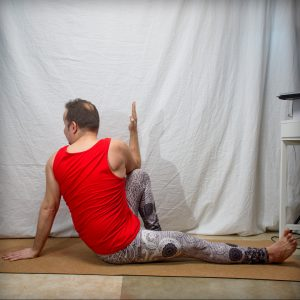 Marichyasana C in February 6th 2019. I can't bind in this one, but I love to practice the modified variation for a good spinal twist.