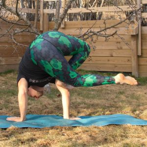 Grasshopper pose in March 18th 2019.  Parsva Bhuja Dandasana or  Grasshopperpose is a challenging pose, as you need strong legs for the initial figure four squat, good spinal twist, open hips