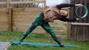 Sidebend with trikonasana variation