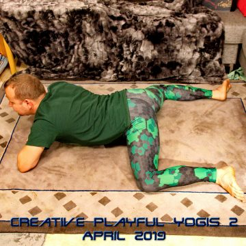 Frog pose in April 2nd 2019. I try to pair every day here with same day in last challenge, so I bring a Mandukasana or Frogpose. I usually practice frog lying flat down, but sometimes like to