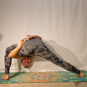 Bound extended side angle pose in April 23rd 2019. The key to health is to Smile more frown less :) I bring a Bound extended side angle pose or Utthita Parsvakonasana, which is very close to m