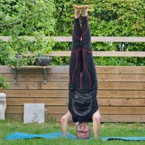 Tripod headstand in May 20th 2019. Smiling in headstanding is harder for me than making a lotus in it, but I've made it today in Tripod headstand. Otherwise, I have easy to smile, especially i