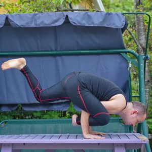 Flying lizard pose in May 21st 2019. I love Flying lizard pose or Uttana Prasithasana. It was the first flying armbalance I've learned. Tight hammies is almost an asset here, as you get a good