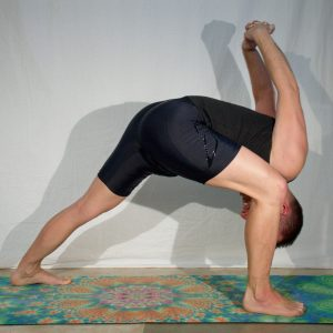 Humble Warrior in June 1st 2019.  Humble Warrior or Baddha Virabhadrasana is one of my favorite shoulderopeners, among Prasarita Padottanasana C, eagle pose, cowface and bridge pose. It has an