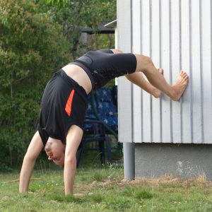 Handstand in August 1st 2019. There are two ways to enter this wheelposevariation - start from handstand or wheelpose. I went for the handstand route, and experimented with short distance to w