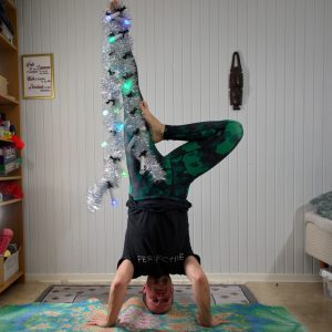 Tripod headstand in December 21st 2019. My choice for headstanding Tree pose tonight is Tripod headstand. Happy Hanukkah and Fourth Advent!