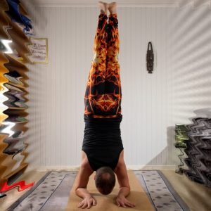 Forearm stand in January 18th 2020. Dolphin pose is how I get into Pincha Mayurasana, so I bring both. I bring two perspectives for the Forearm stand and one for the dolphin. Both poses target