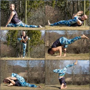 Pigeon pose in April 9th 2020. Second day is Pigeon Pose, and I bring six variations. Not all of them are strict rotations, as I have Anjali Mudra in a few, and different arms in the others.