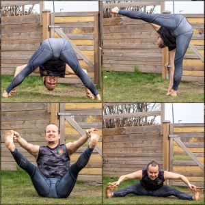 Wide legged forward fold in April 12th 2020. I go for Prasarita Padottanasana D or Wide legged forward fold D which is very rotatable with kept arm alignment, which satisfies my inner math gee