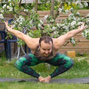 Benu Bird Pose in May 25th 2020. My choice today is a hybrid of Benu Bird Pose and Bound Angle Pose inspired by amazing @inspiremyyoga. I love this variation, looks like an inverted Odal rune