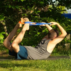 Bow Pose in June 17th 2020. Thank you all hosts and sponsors for this challenge. I love to practice Dhanurasana or Bow Pose with flipped grip, but need long straps for it :)