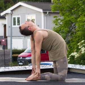 Camel pose in June 23rd 2020. I bring a regular Ustrasana or Camel Pose and a kneeling backbend variation. Camel pose with flipped grip is like a decade away for me :)