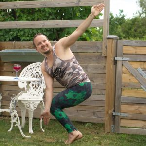Revolved chair pose in July 6th 2020. Today is my last day of my full moon cleanse. I celebrated the full moon with a 3 day juice cleanse. My choice today is Parivrtta Utkatasana or Revolved