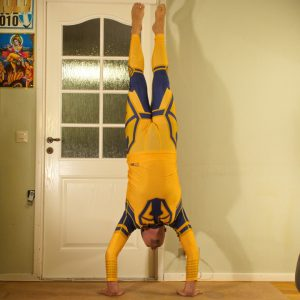 Handstand in August 8th 2020. My choice today is Handstand. You need both strength and flexibility for this, and lots of balance and spatial awareness. Easiest way to test that you have the st