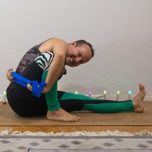 Marichyasana A in September 23rd 2020. My choice here is Marichyasana A or Marichi's Pose, in which I sometimes need a strap to reach around.
