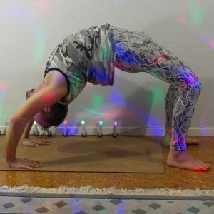 Wheelpose in October 3rd 2020. I can't come full circle, so the closest I get is a Wheelpose or Urdva Dhanurasana.