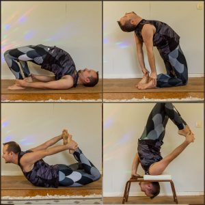 Bow Pose in October 20th 2020. Today is Wheel or Bridge Pose. I planned to do wheel, but found I've got more possible rotations in bridge so that's my choice today.