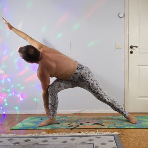 Revolved side angle pose in October 27th 2020. I keep my Ashtanga Primary Series today too, so I bring a Parivrtta Parsvakonasana or Revolved side angle pose which is an intense Spinal twist.