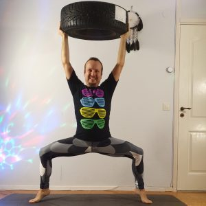 Goddess pose in November 13th 2020. Goddess pose or strongpose, why not both? I bring car tyre exercises to Utkata Konasana, pressing the wheel above my head when going up on Tiptoe Balance. H