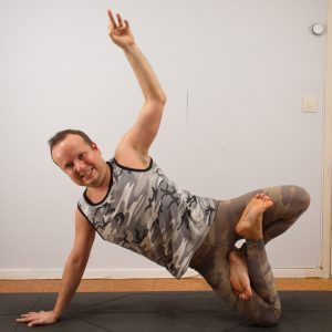 Side plank lotus in December 28th 2020. My choice of Balance today is Padma Vasisthasana or Side plank lotus. Extended arm is way harder for me than elbow, and I bring both variations.